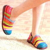 (33-39適穿)MIT*PU底/藍.橘.桃紅.艷紫/橫紋彩-THE ONE 彩虹氣墊鞋(全牛皮)-mitTG01345