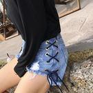 (全館一件免運費)DE SHOP~綁帶刷破牛仔短褲 【NN-2780】