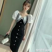 新款夏季泡泡袖修身包臀禮服小黑裙氣質顯瘦減齡V領洋裝女 青木鋪子