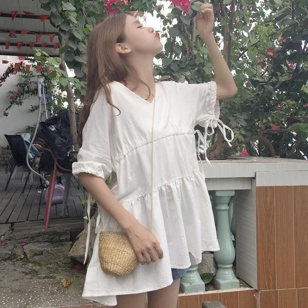 [超豐國際]夏裝日系軟妹寬松荷葉邊系帶娃娃裙中長款泡泡袖連衣1入