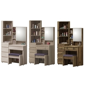 【MUNA 家居】約克3尺鏡台/化妝台(含椅)三古木色