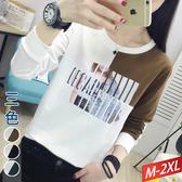 照片拼圖燙印配色圓領上衣(3色) M~2XL【392495W】【現+預】☆流行前線☆