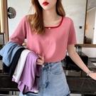 棉麻T恤 亞棉麻短袖T恤女夏方領正韓寬鬆純色體恤超火上衣-Ballet朵朵