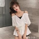 一字露肩襯衫女設計感小眾2021夏季新款收腰蝴蝶結假兩件吊帶上衣 蘿莉新品