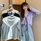 長袖上衣 2021新款學院風紫色條紋長袖針織衫女秋季韓版寬鬆披肩兩件套上衣 韓國時尚週
