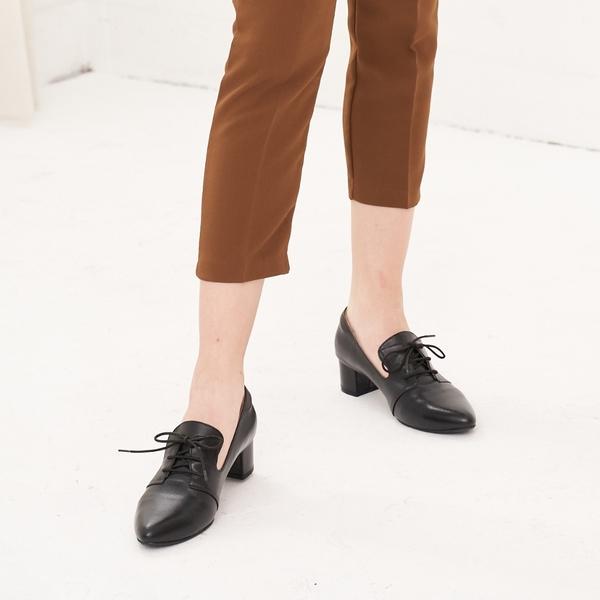 大尺碼女鞋41-45 夢想店 台灣真皮手工時尚潮流復古英式摩登牛津鞋踝靴4.5cm【PW903】黑色