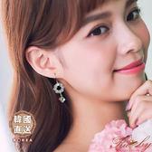 耳環 韓國直送花朵圓圈方塊水鑽垂墜耳環-黃色-Ruby s 露比午茶