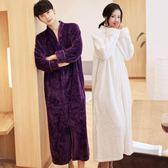 每週新品法蘭絨拉鍊睡袍女冬加厚男士長款珊瑚絨情侶浴袍孕婦加肥加大睡衣