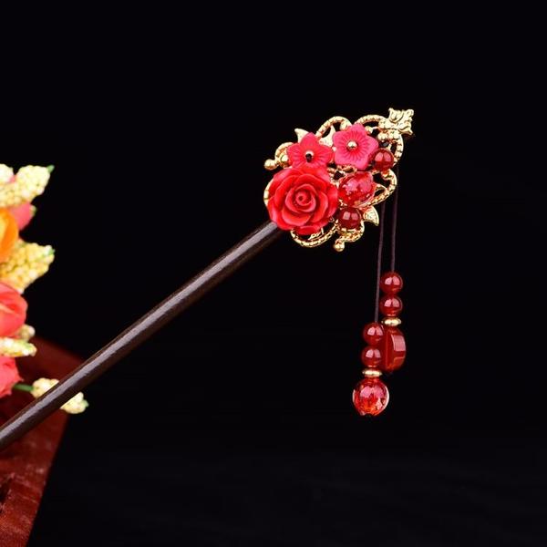 中國風髪簪女復古風髪釵頭飾民族風盤髪簪子新娘旗袍飾品配飾 髪插
