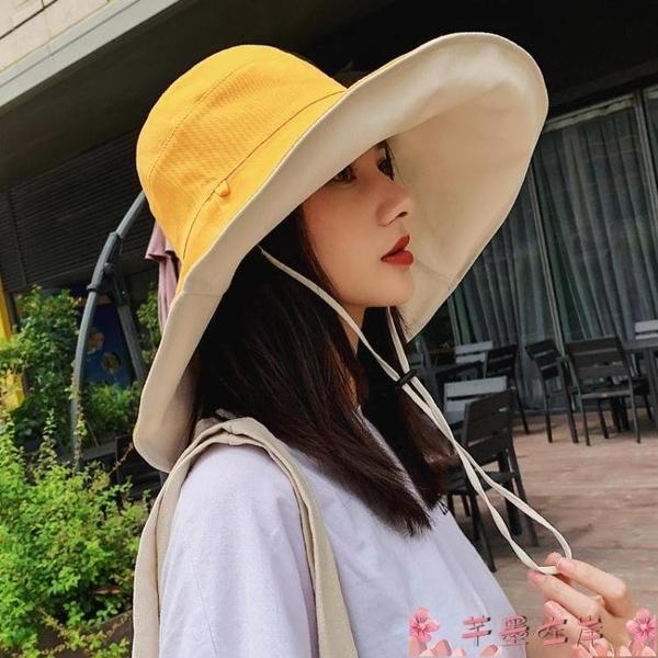 漁夫帽雙面遮陽帽女韓版漁夫帽百搭大沿夏季防曬紫外線遮臉超大太陽帽子 芊墨左岸
