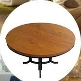 摺疊餐桌 鐵藝家用餐桌實木圓形折疊餐桌 MKS薇薇家飾