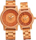 shifenmei【日本代購】復古懷舊木錶 情侶手錶 男女對錶 圓形字母 一對S5557-01