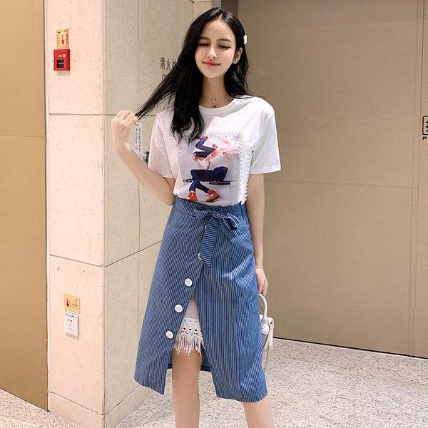 VK旗艦店 韓系時尚印花豎條紋開叉裙套裝短袖裙裝