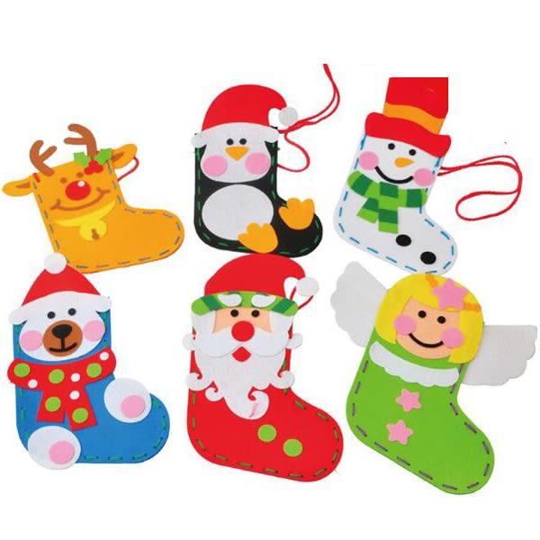 【BlueCat】第二代聖誕節紅帽子企鵝天使DIY襪子禮物袋 側背包 材料包