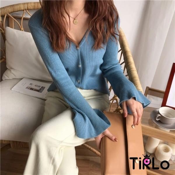 外套 -Tirlo-荷葉袖針織前釦小外套-八色(現+追加預計5-7工作天出貨)