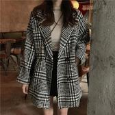 新款chic時尚復古格子西裝毛呢外套女中長款寬鬆百搭呢子大衣 瑪麗蘇