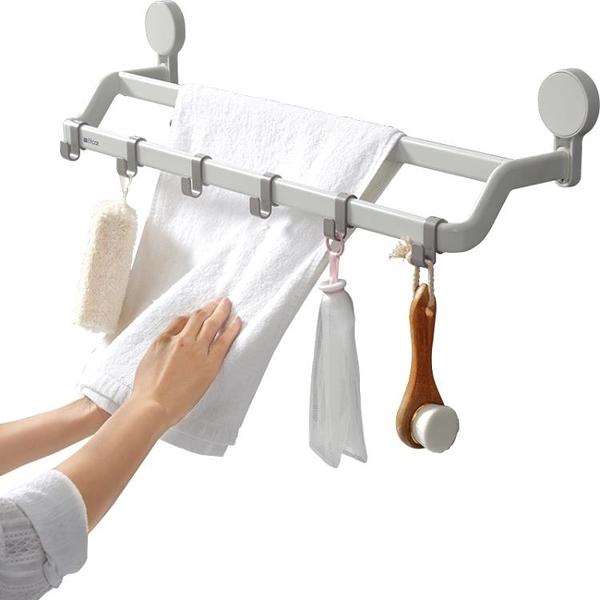 浴室衛生間毛巾架免打孔吸盤式涼掛鉤置物桿的架子廁所掛抹布廚房