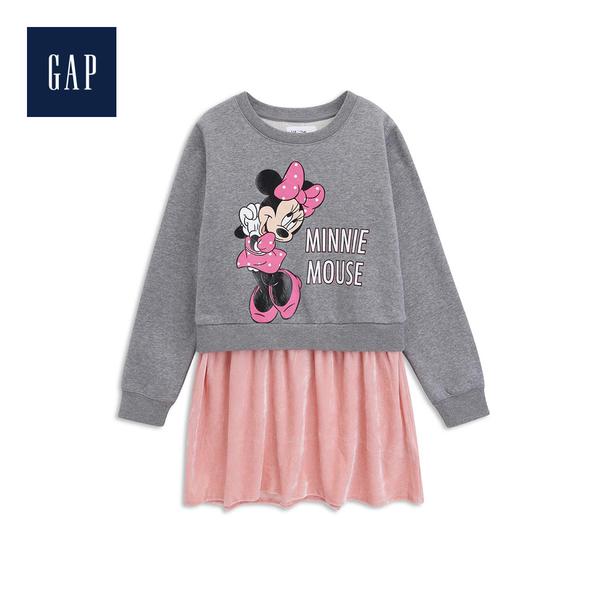 Gap女童 Disney迪士尼系列圓領長袖洋裝528229-石楠灰