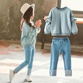 女童春裝套裝新品正韓時髦兒童兩件套洋氣大童女孩春秋衛衣潮
