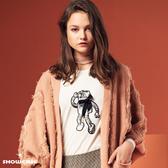 【SHOWCASE】蝴蝶結機器人圖案俏麗合身長袖棉T恤(白)