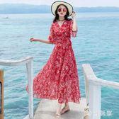 波西米亞洋裝新款海邊度假大擺碎花連身裙zzy3095『時尚玩家』