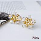 水晶編織花朵金色典雅 夾式耳環 耳夾 -FiDA