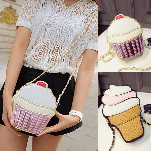 側背包 時尚蛋糕冰淇淋鍊條斜跨零錢包【O2961】☆雙兒網☆