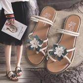 快速出貨 平底涼鞋 涼鞋女外穿 夏季 百搭花朵平底兩穿涼拖仙女風沙灘羅馬鞋子