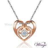Wings 愛恆久 925純銀精鍍玫瑰金八心八箭鋯石項鍊