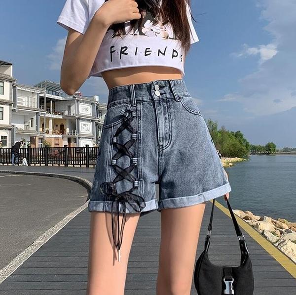 短褲闊腿褲牛仔褲S-XL高腰寬鬆闊腿綁帶時尚百搭牛仔短褲TBF05A-8810.胖胖唯依