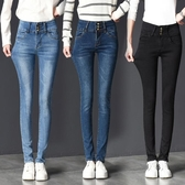 2020秋季加絨排扣高腰女牛仔褲黑色顯瘦鉛筆褲彈力修身小腳長褲子 後街五號