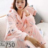 秋冬睡衣  暖暖兔兩件式睡衣+睡褲(兩色:粉、灰)-保暖、居家服_蜜桃洋房