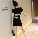 露背洋裝2020春季新款性感露背小黑裙顯...