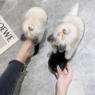 棉拖鞋女冬家居舒適包頭半拖鞋小兔子水鉆可愛毛絨絨拖鞋秋冬新款 貝芙莉