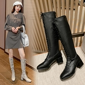 長靴超酷英倫風騎士靴女秋季新款百搭厚底方頭顯瘦長筒女靴子