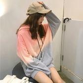 秋季女裝韓版原宿風寬鬆漸變色中長款連帽套頭長袖衛衣上衣外套潮『韓女王』