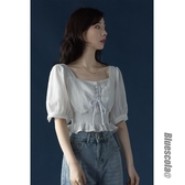 白色短款襯衫夏法式復古方領心機設計感泡泡袖bm風高腰顯瘦上衣女-米蘭街頭