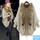 【V9279】shiny藍格子-歐風時尚‧毛領寬鬆蝙蝠袖開衫毛衣外套
