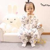 秋冬季嬰兒童法蘭絨兔子睡袋寶寶刷毛加厚雙層連身睡衣爬服家居服 聖誕交換禮物