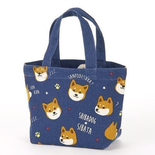 【日本厳選】Funny柴犬 寶藍色柴犬帆布手提包