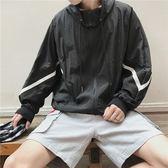 條紋拼接防曬寬鬆蝙蝠袖上衣服港風夾克外套【聚寶屋】
