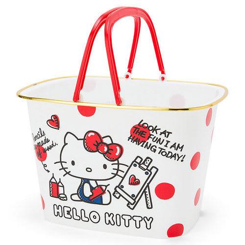 【震撼精品百貨】Hello Kitty 凱蒂貓~HELLO KITTY多功能收納提籃(點點)