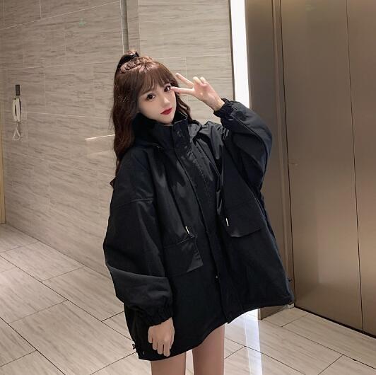 黑色外套新款女秋冬季百搭工裝休閒風衣寬松
