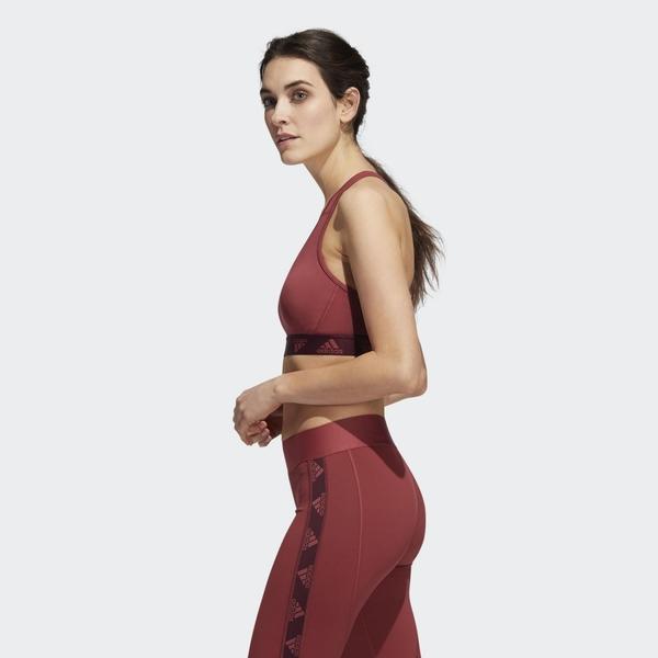 【現貨】Adidas LOGO 女裝 運動內衣 慢跑 訓練 可拆卸式 中度支撐 背面透視 酒紅【運動世界】GC8176