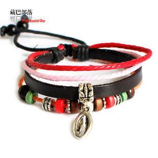 民族風藏銀桃木繩編皮手鏈