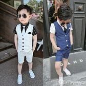 禮服 男童小西裝套裝夏季新款花童禮服兒童馬甲三件套寶寶演出服潮  瑪麗蘇