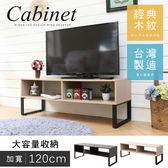 MIT台灣製【澄境】120CM工業風雙格電視櫃/茶几桌 書櫃 展示櫃 隔間櫃 書架 電視架 TV011
