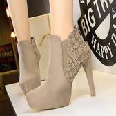 騎士靴 超高跟防水臺絨面夜店顯瘦短靴《小師妹》sm618