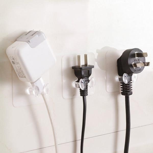 【03680】透明插頭掛勾 無痕掛勾 充電支架 浴室 廚房 收納