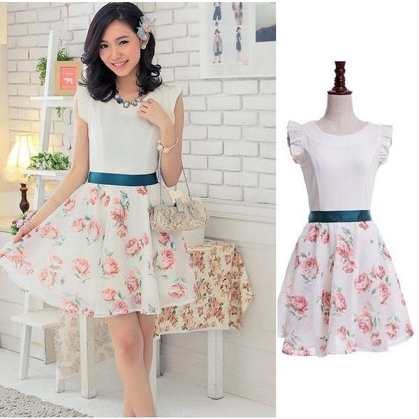 美之札[6661-S]兩穿式韓國玫瑰歐根纱 修身短袖洋裝(兩件式)-美之札